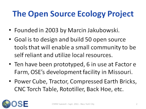 Open Source Ecology Overview