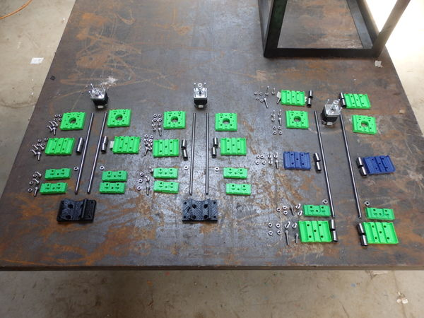 The disassembled axes required to convert the D3D printer to the circuit board mill